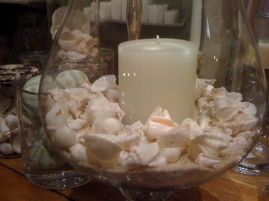 candle and seashells