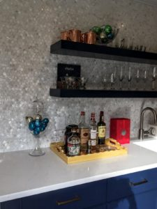 staged Greenwich CT home bar space