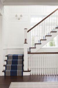 Westport CT Staircase with beautiful runner rug